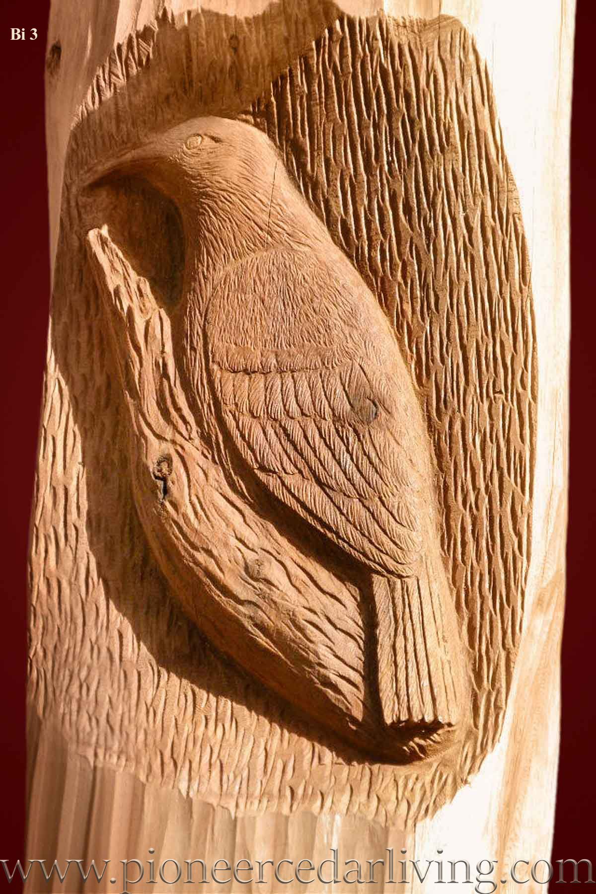 Bird relief carving