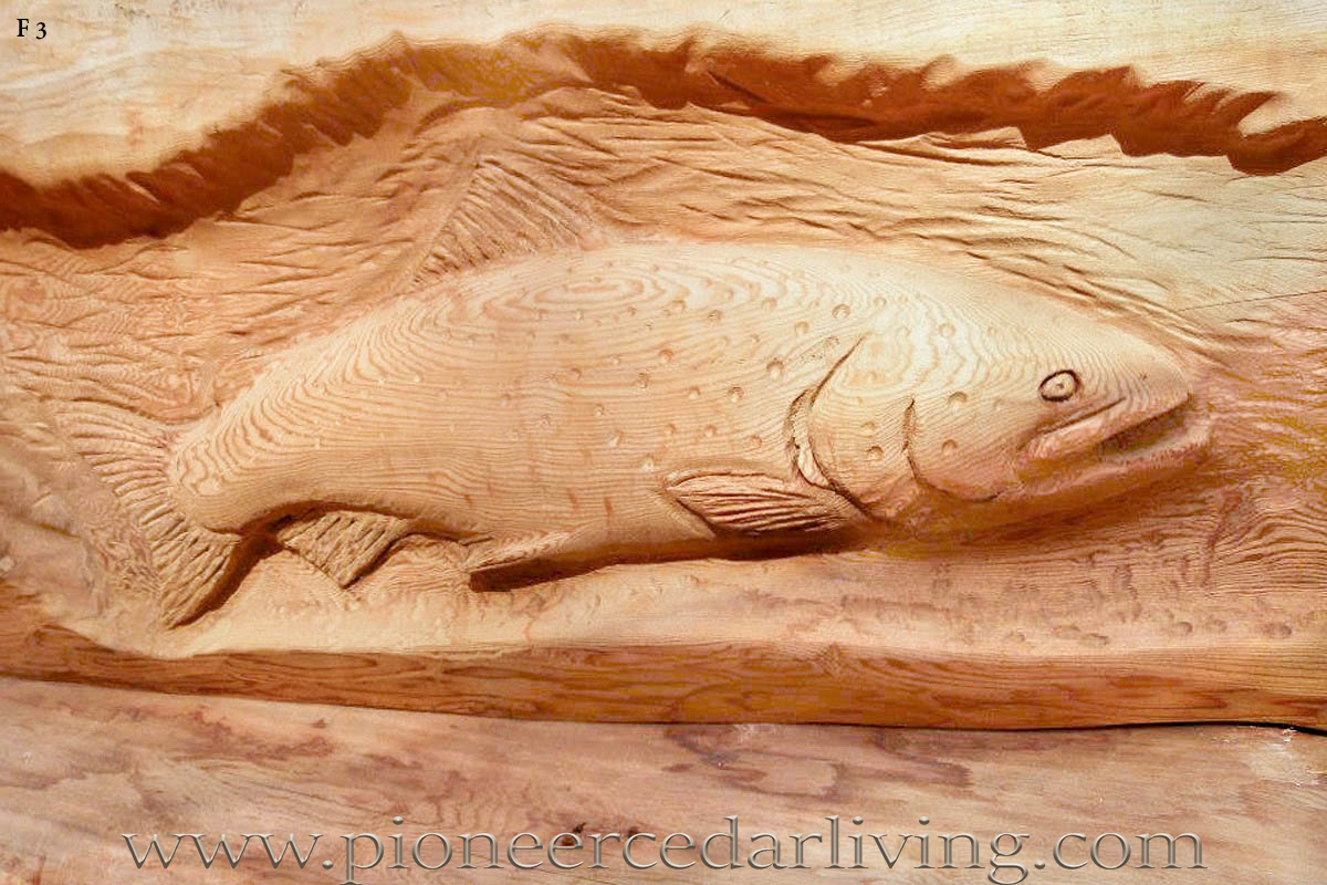 Relief chainsaw carving of trout pioneer cedar living