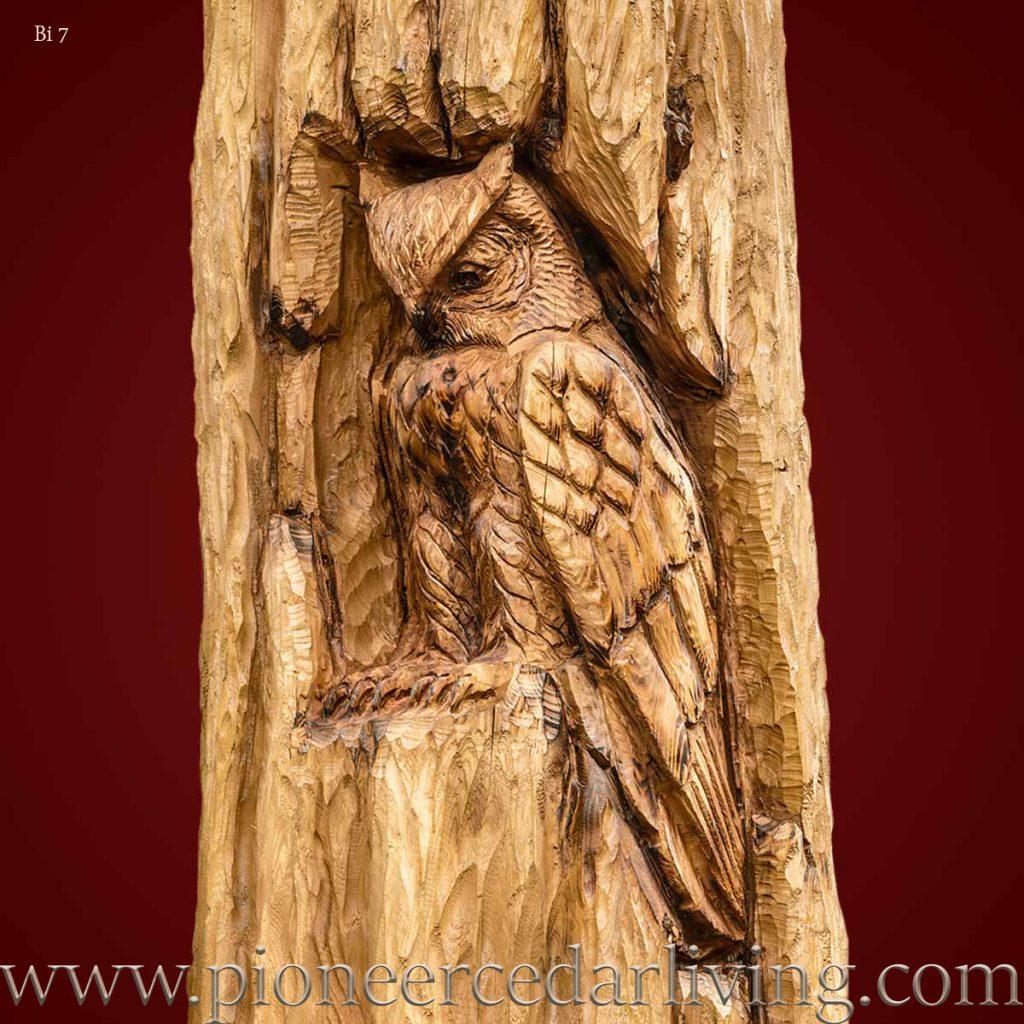 Horned owl cedar relief carving