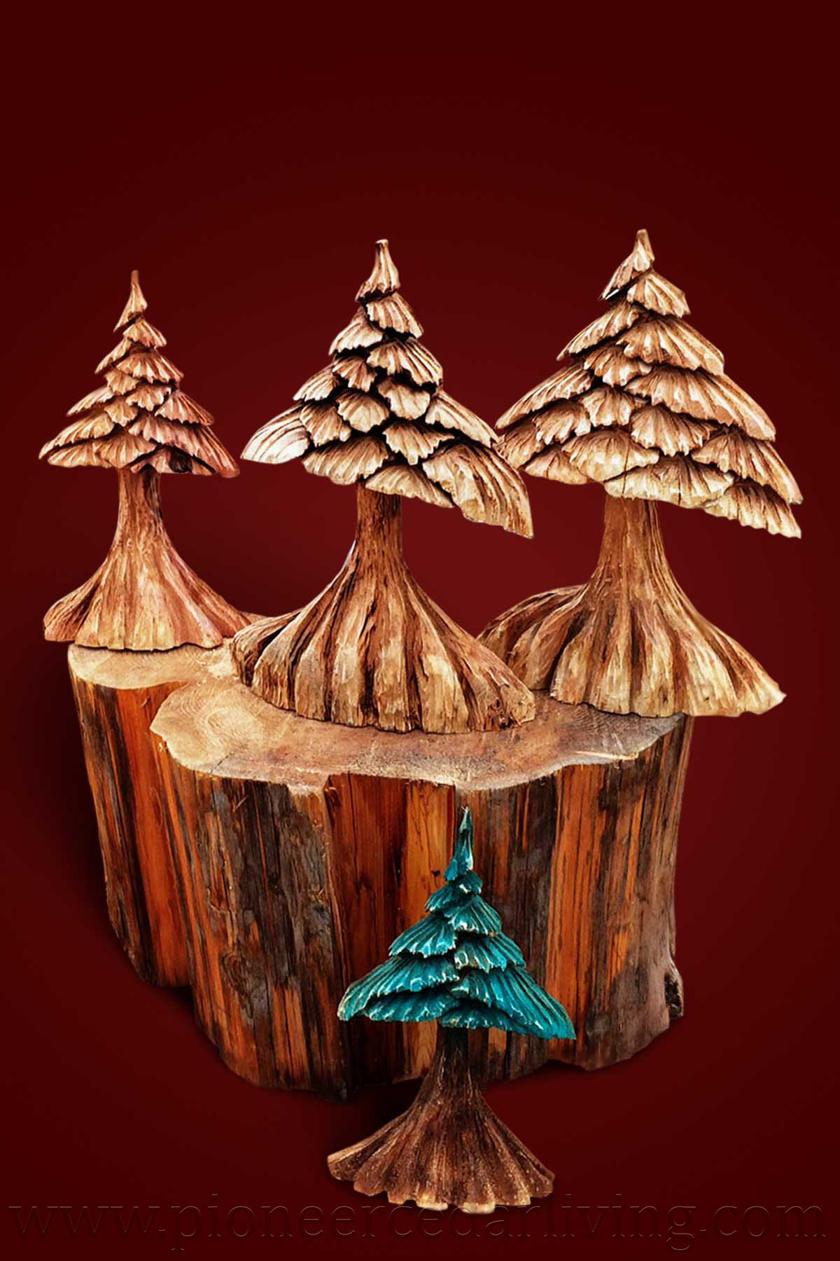 Chainsaw carvings of little timber king trees pioneer