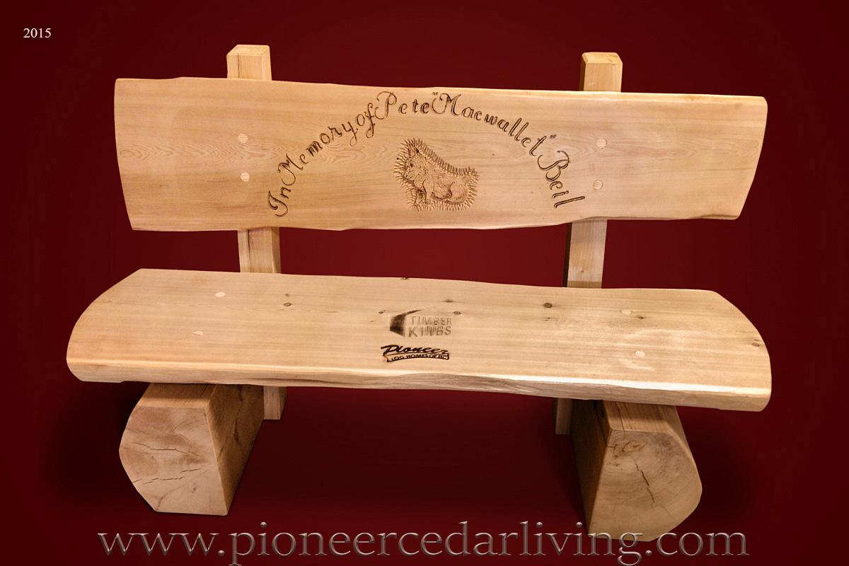 Memorial Log Bench Pioneer Cedar Living