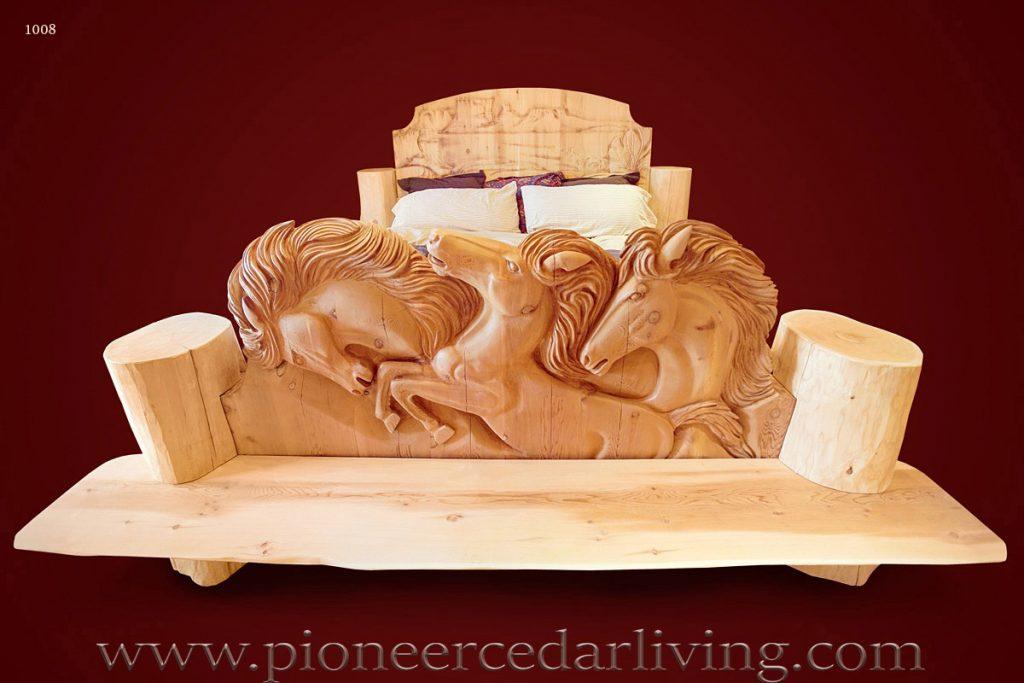 Carved wood bed pioneer cedar living
