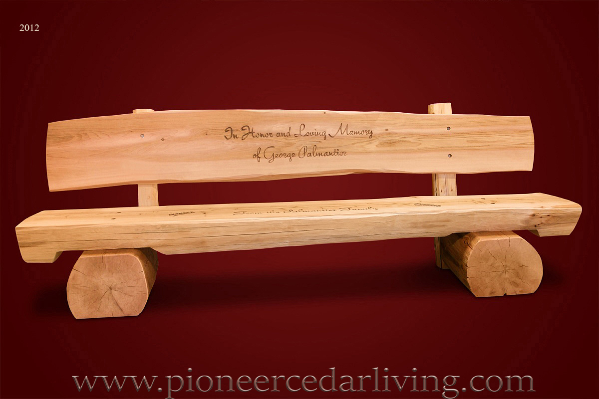 Memorial Log Bench Pioneer Cedar Living